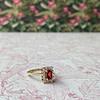 vintage gouden ring granaat rechthoek cluster