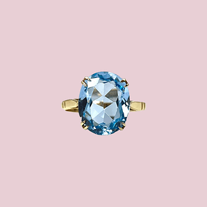 ring met blauwe spinel vintage goud van sieradenmeisje