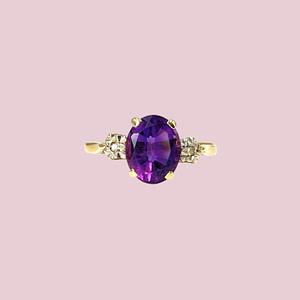 amethist ring vintage goud met diamant sieradenmeisje