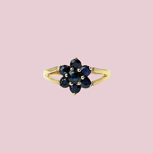 vintage gouden ring met blauwe saffier bloem