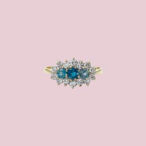 vintage ring goud topaas cluster