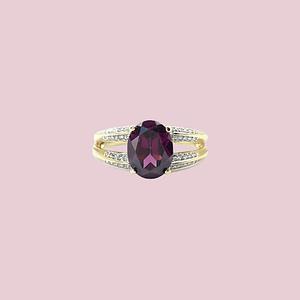 vintage gouden ring met framboos granaat rhodoliet