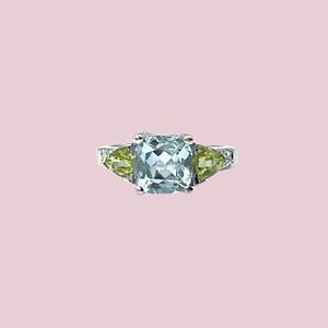 vintage witgouden ring met topaas peridoot en diamant