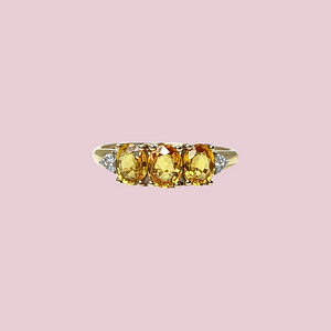vintage ring goud gele saffier trilogy ring met diamant