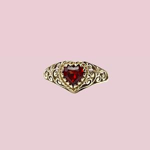 vintage ring granaat hartvorm filigrain ring goud