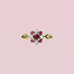 vintage ring robijn en diamant cluster 9k goud