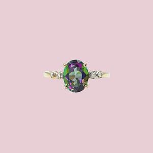 vintage gouden ring mystic topaz topaas en diamant