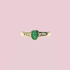 vintage ring met smaragd en diamant
