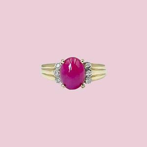 vintage ring roze robijn en diamant robijn cabochon