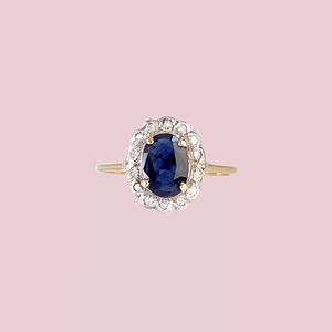 vintage lady di ring saffier en diamant cluster 9k goud