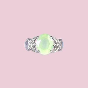 vintage ring prehniet witgoud groene steen