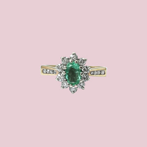 vintage ring smaragd en diamant cluster entourage 9k goud