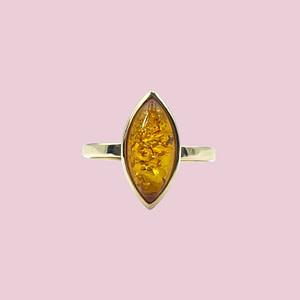 gouden ring met amber vintage ringen