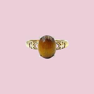 vintage ring met tijgeroog goud
