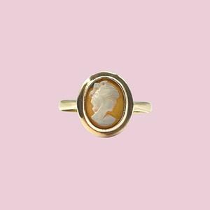 vintage camee ring goud dames portret schelp