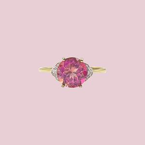 vintage ring roze topaas mystic topaz