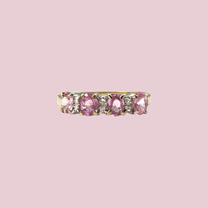 vintage ring goud met roze saffier en diamant
