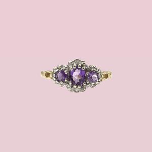 vintage ring amethist en diamant cluster trilogie goud