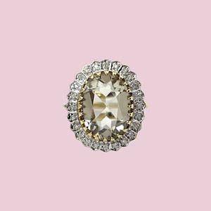 vintage grote cluster ring diamant en limoenkwarts