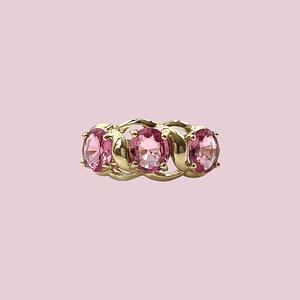 vintage gouden trilogie ring met roze saffier