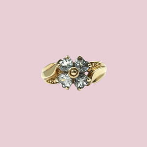 vintage ring met blauwe topaas bloem klaver 9k goud