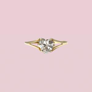 vintage ring met zirkonia hartje 9k goud