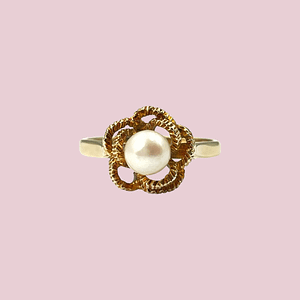 vintage parel ring goud bloem zetting