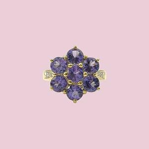 vintage ring met tanzaniet bloem