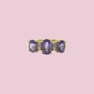 vintage tanzaniet en diamant ring 14 karaat goud