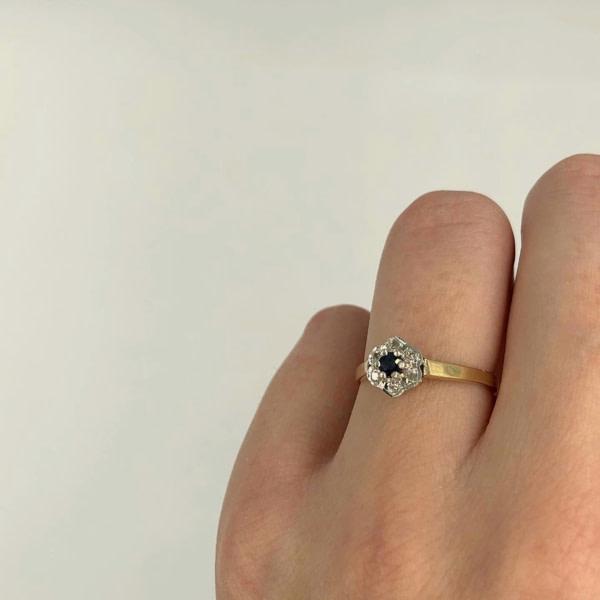 ring diamant bloem en saffier