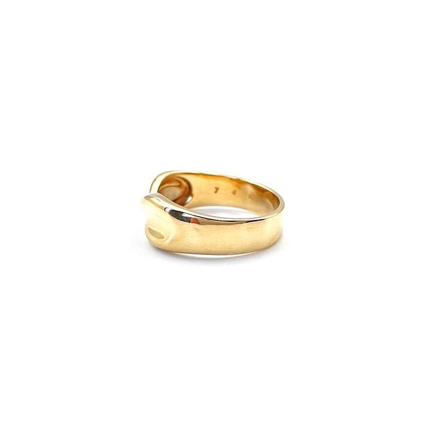 vintage gouden band ring gedraaid breed 9k