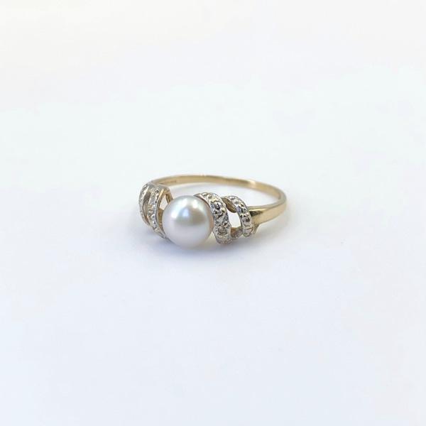 vintage ring met parel en diamant