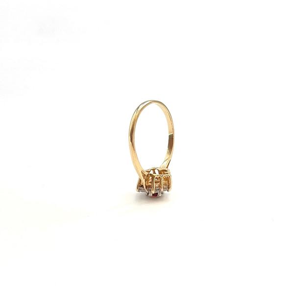 vintage gouden bloem ring met granaat knopje en zirkonia