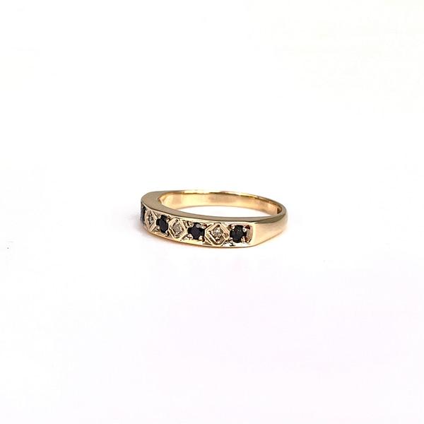 vintage eternity ring met saffier en diamant