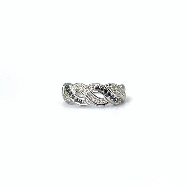 witgouden ring met witte en zwarte diamant vintage