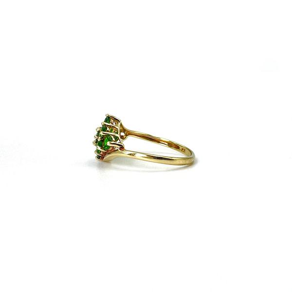 vintage ringen chrome diopside cluster goud