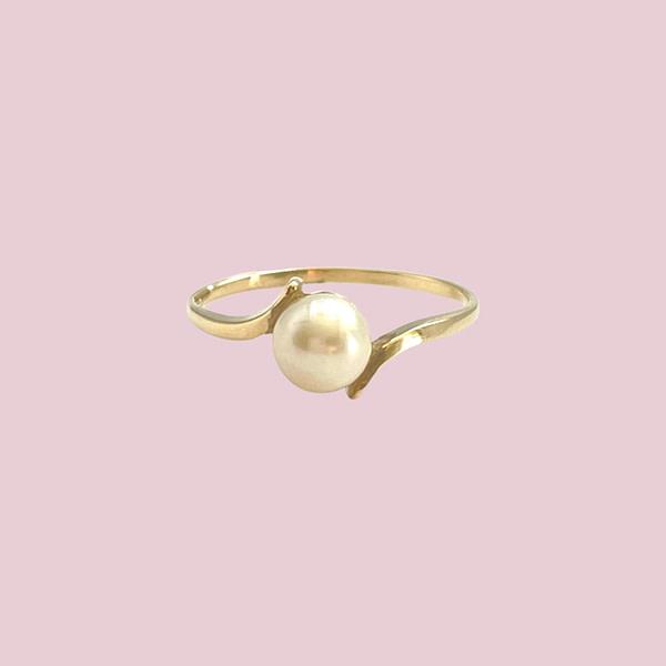 vintage gouden ring met parel