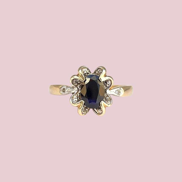vintage ringen gouden baroque ring met saffier en diamant