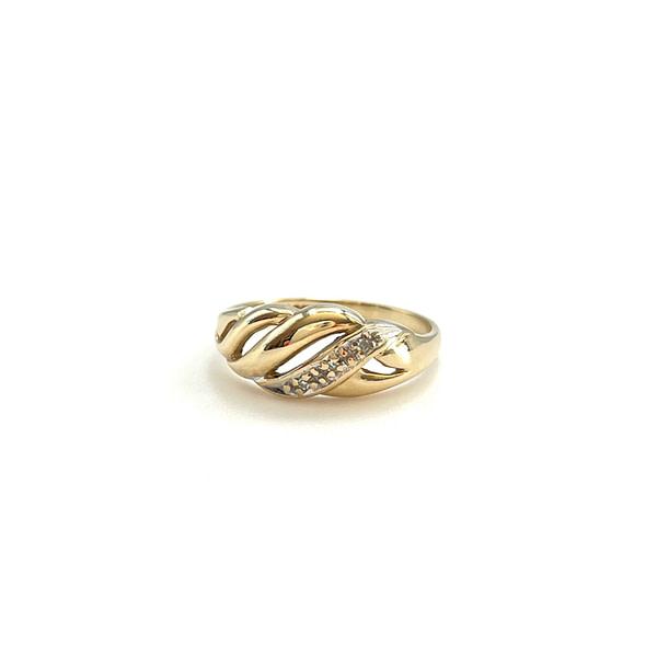 vintage gouden croissant ring met diamant