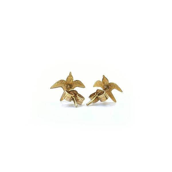 vintage gouden oorknopjes met vogeltjes zwaluw