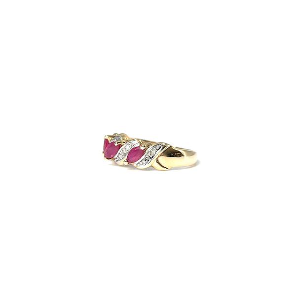 gouden ring robijn en diamant 9k