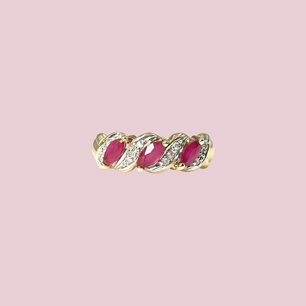 ring met robijn en diamant goud sieradenmeisje