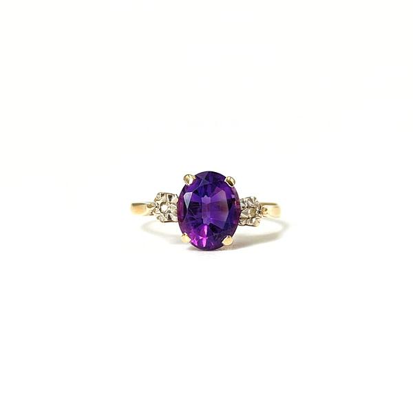 ring amethist goud vintage met twee diamanten