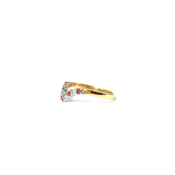 gouden wishbone ring met robijn en zirkonia