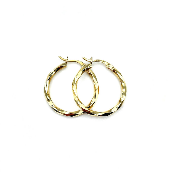 gouden oorbellen gedraaide oorringen van goud