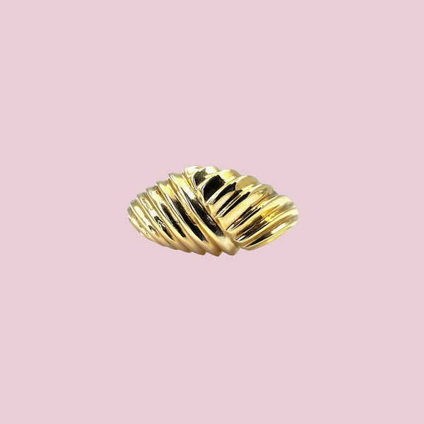 vintage gouden croissant ring statement ring 9k goud