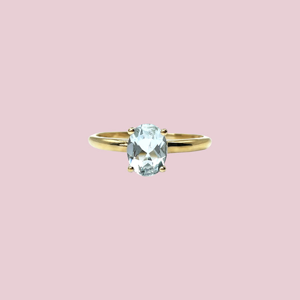 gouden aquamarijn ring vintage goud