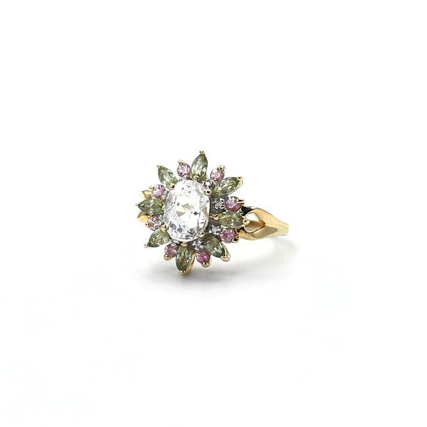 vintage ring gouden ringen bloem entourage gekleurde edelsteen