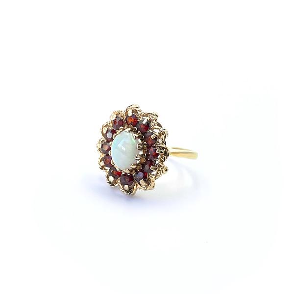 opaal en granaat ring gouden entourage cluster ringen
