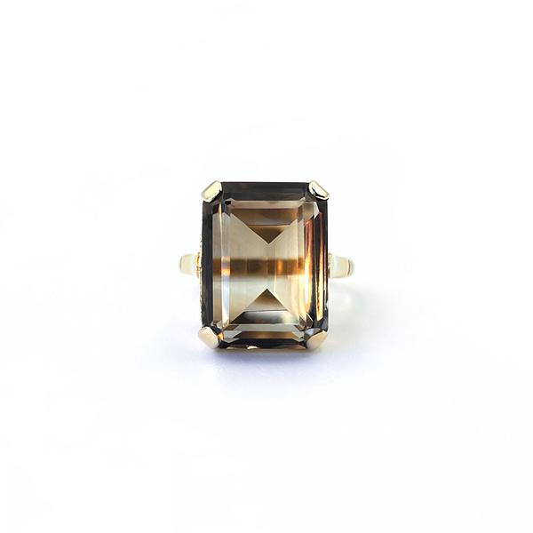 vintage gouden ring met rookkwarts